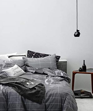 White with Black Grid Geometric Modern Patte Grid Comforter Set Wake In Cloud
