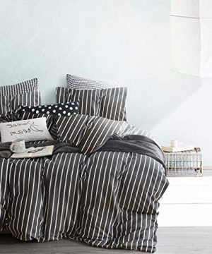 Wake In Cloud Gray Striped Comforter Set 100 Cotton Fabric With Soft Microfiber Fill Bedding White Vertical Stripes Pattern Printed On Dark Grey 3pcs Twin Size 0 0 300x360