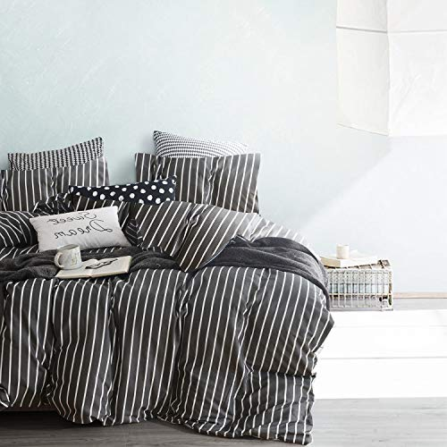 Wake In Cloud Gray Striped Comforter Set 100 Cotton Fabric With Soft Microfiber Fill Bedding White Vertical Stripes Pattern Printed On Dark Grey 3pcs Twin Size 0 0