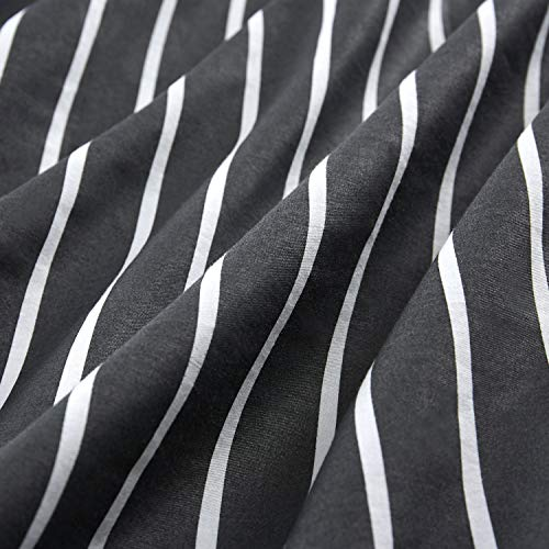 Wake In Cloud Gray Striped Comforter Set 100 Cotton Fabric With Soft Microfiber Fill Bedding White Vertical Stripes Pattern Printed On Dark Grey 3pcs Twin Size 0 2