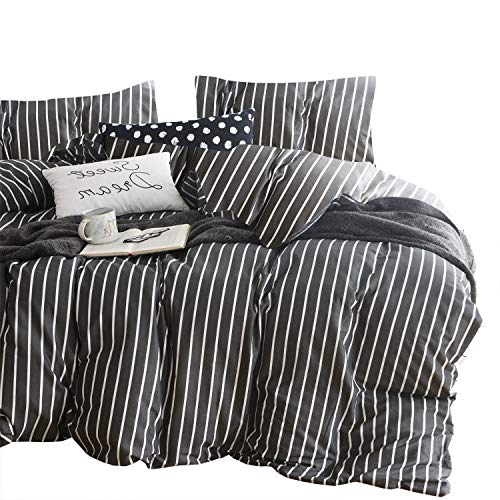 Wake In Cloud Gray Striped Comforter Set 100 Cotton Fabric With Soft Microfiber Fill Bedding White Vertical Stripes Pattern Printed On Dark Grey 3pcs Twin Size 0
