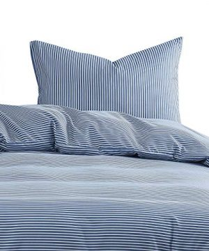Wake In Cloud Striped Comforter Set White Stripes Ticking Pattern Printed On Navy Blue Soft Microfiber Bedding 3pcs Twin Size 0 0 300x360