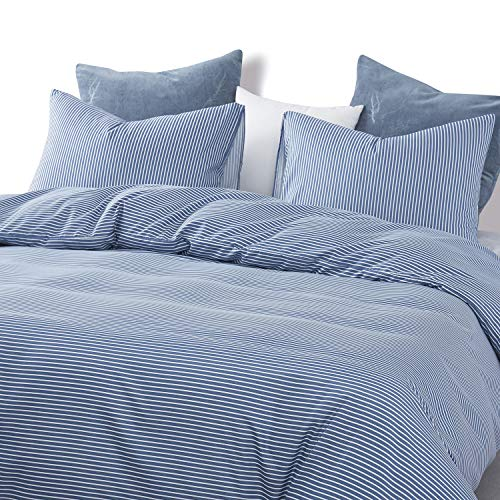 Wake In Cloud Striped Comforter Set White Stripes Ticking Pattern Printed On Navy Blue Soft Microfiber Bedding 3pcs Twin Size 0 2