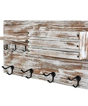 Wall Mounted Coat Rack With Shelf Rustic Whitewash Distressed Wood Farmhouse Decor Entryway Organizer Coat And Key Hooks Mail Organizer 24 X 12 White Wash 0 300x360