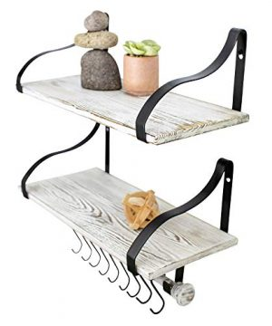 Wall Mounted Floating Spice Shelves With Towel Bar And Removable Hooks Solid Wood Rustic Shelving Storage For Kitchens Bathrooms And More Farmhouse Wall Dcor 1675 Long X 75 Set Of 2 0 300x360