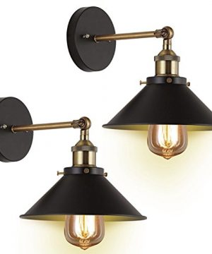 Wall Sconces 2 Pack JACKYLED UL Black Hardwire Industrial Vintage Wall Lamp Fixture Simplicity Bronze Finish Arm Swing Wall Lights 0 300x360