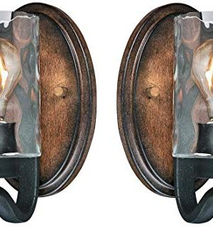 Westinghouse Barnwell One Light Indoor Wall Fixture Textured Iron And Barnwood Finish With Clear Hammered Glass 1 Light 2 Pack 0 300x327