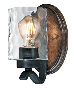 Westinghouse Lighting 6331600 Barnwell One Light Indoor Wall Fixture Textured Iron And Barnwood Finish With Clear Hammered Glass 1 Iron Barnwood 0 300x360