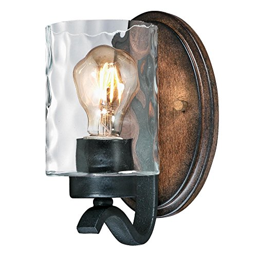 Westinghouse Lighting 6331600 Barnwell One Light Indoor Wall Fixture Textured Iron And Barnwood Finish With Clear Hammered Glass 1 Iron Barnwood 0