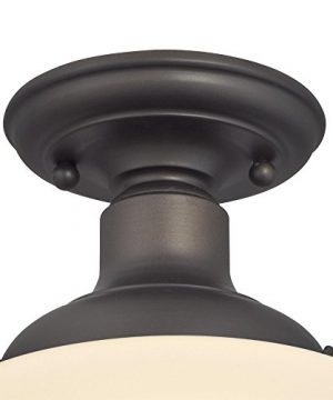 Westinghouse Lighting 6342200 Scholar One Light Indoor Semi Flush Ceiling Fixture Oil Rubbed Bronze Finish With White Opal Glass 1142 0 0 300x360
