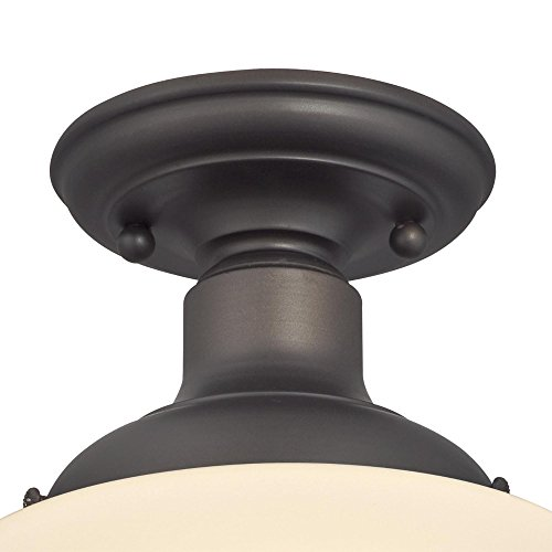 Westinghouse Lighting 6342200 Scholar One Light Indoor Semi Flush Ceiling Fixture Oil Rubbed Bronze Finish With White Opal Glass 1142 0 0