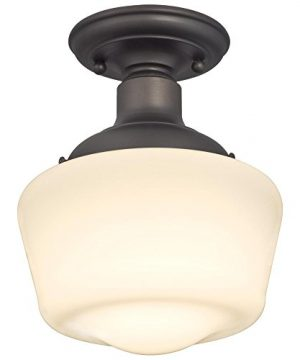 Westinghouse Lighting 6342200 Scholar One Light Indoor Semi Flush Ceiling Fixture Oil Rubbed Bronze Finish With White Opal Glass 1142 0 300x360