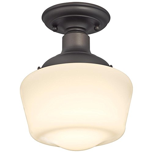 Westinghouse Lighting 6342200 Scholar One Light Indoor Semi Flush Ceiling Fixture Oil Rubbed Bronze Finish With White Opal Glass 1142 0