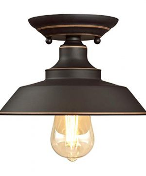 Westinghouse Lighting 6370100 Iron Hill 9 Inch One Light Indoor Semi Flush Mount Ceiling Light Oil Rubbed Bronze Finish With Highlights 0 0 300x360