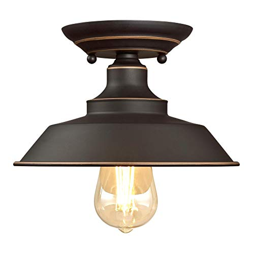 Westinghouse Lighting 6370100 Iron Hill 9 Inch One Light Indoor Semi Flush Mount Ceiling Light Oil Rubbed Bronze Finish With Highlights 0 0