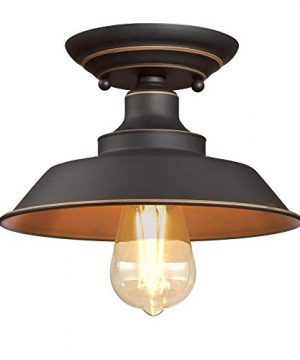 Westinghouse Lighting 6370100 Iron Hill 9 Inch One Light Indoor Semi Flush Mount Ceiling Light Oil Rubbed Bronze Finish With Highlights 0 300x360