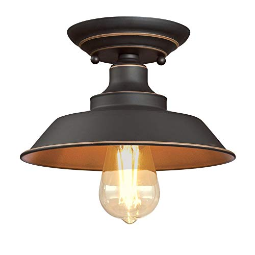 Westinghouse Lighting 6370100 Iron Hill 9 Inch One Light Indoor Semi Flush Mount Ceiling Light Oil Rubbed Bronze Finish With Highlights 0