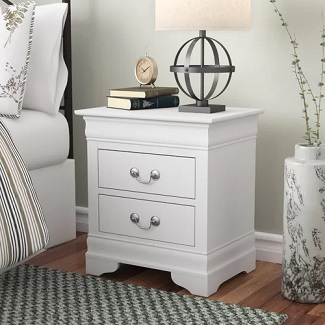 White Babcock 2 Drawer Nightstand