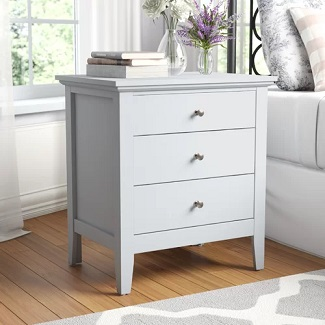 White Sonja 3 Drawer Nightstand