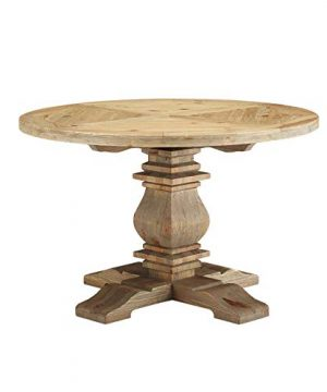 Wild Hen Round Pine Wood Dining Table Brown Farmhouse 0 300x360