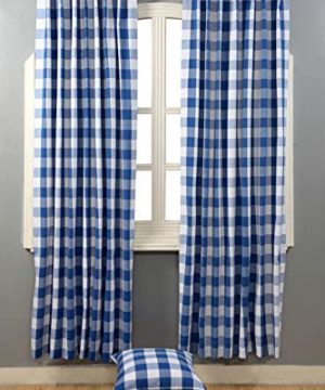 Window Panels Curtain In Gingham Check Cotton Fabric 50x72 Navy White Set Of 2Farmhouse Curtain Tab Top Curtains Room Darkening Drapes Curtains For Bedroom Curtains For Living Room Curtains 0 0 300x360
