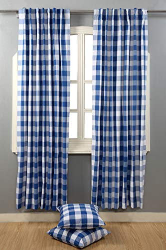 Window Panels Curtain In Gingham Check Cotton Fabric 50x72 Navy White Set Of 2Farmhouse Curtain Tab Top Curtains Room Darkening Drapes Curtains For Bedroom Curtains For Living Room Curtains 0 0