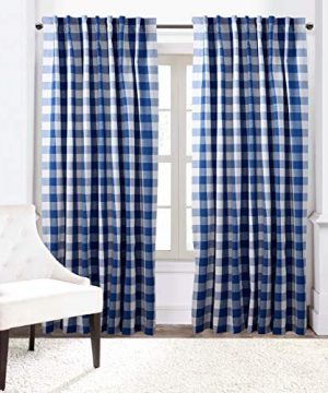 Window Panels Curtain In Gingham Check Cotton Fabric 50x72 Navy White Set Of 2Farmhouse Curtain Tab Top Curtains Room Darkening Drapes Curtains For Bedroom Curtains For Living Room Curtains 0 1 300x360