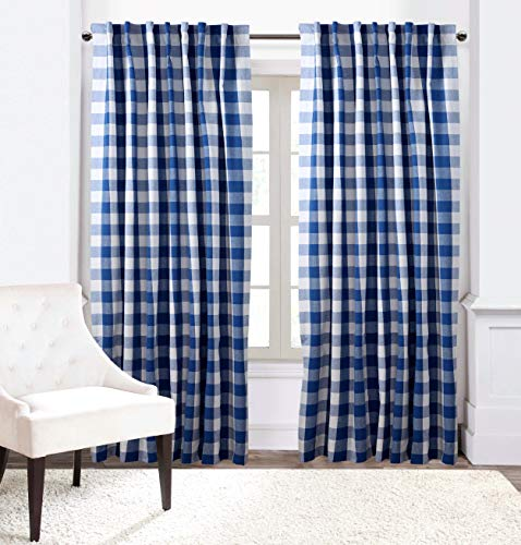 Window Panels Curtain In Gingham Check Cotton Fabric 50x72 Navy White Set Of 2Farmhouse Curtain Tab Top Curtains Room Darkening Drapes Curtains For Bedroom Curtains For Living Room Curtains 0 1