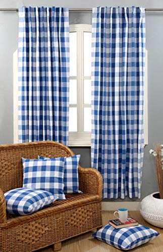 Window Panels Curtain In Gingham Check Cotton Fabric 50x72 Navy White Set Of 2Farmhouse Curtain Tab Top Curtains Room Darkening Drapes Curtains For Bedroom Curtains For Living Room Curtains 0