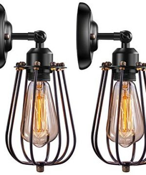 Wire Cage Industrial Wall Sconce Elibbren E26 Base Adjustable Metal Cage Vintage Style Wall Lighting Fixtures For Headboard Bedroom Porch Farmhouse Garage Restaurant 2 Pack 0 300x360