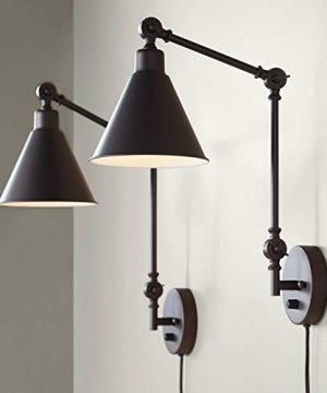 Wray Modern Industrial Up Down Swing Arm Wall Lights Set Of 2 Lamps Dark Bronze Sconce For Bedroom Reading 360 Lighting 0 300x360