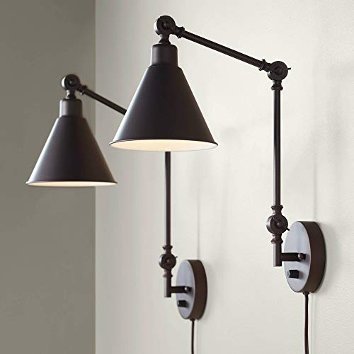 Wray Modern Industrial Up Down Swing Arm Wall Lights Set Of 2 Lamps Dark Bronze Sconce For Bedroom Reading 360 Lighting 0