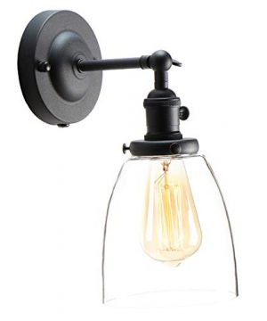 XIDING Premium Industrial Edison Antique Simplicity Glass Wall Sconce Light Upgrade Black Finish Wall Lamp OnOff Rotary Switch On Socket 1 Light 0 1 300x360