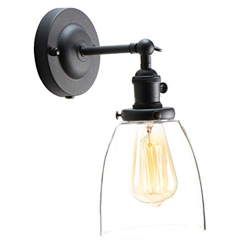 XIDING Premium Industrial Edison Antique Simplicity Glass Wall Sconce Light Upgrade Black Finish Wall Lamp OnOff Rotary Switch On Socket 1 Light 0 1