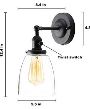 XIDING Premium Industrial Edison Antique Simplicity Glass Wall Sconce Light Upgrade Black Finish Wall Lamp OnOff Rotary Switch On Socket 1 Light 0 2 300x360
