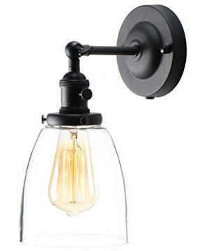 XIDING Premium Industrial Edison Antique Simplicity Glass Wall Sconce Light Upgrade Black Finish Wall Lamp OnOff Rotary Switch On Socket 1 Light 0 300x360