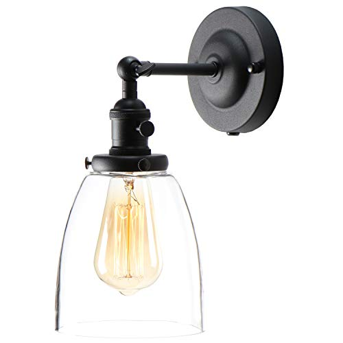 XIDING Premium Industrial Edison Antique Simplicity Glass Wall Sconce Light Upgrade Black Finish Wall Lamp OnOff Rotary Switch On Socket 1 Light 0