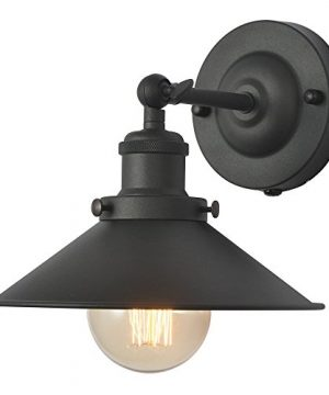 XIDING Premium Retro Industrial Edison Simplicity Metal Wall Sconce Light FixtureUpgrade Black Finish Shade Vintage Swing Arm Wall Lamp E26 Base 1 Light 0 300x360