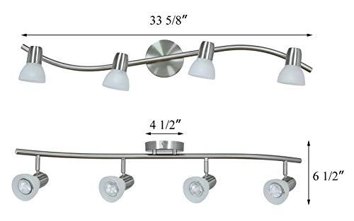 XiNBEi Lighting Track Lighting 4 Light Track Light Modern S Shaped Track Light Bar Included GU10 Bulb Brushed Nickel Finish XB TR1223 4 0 2