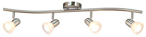 XiNBEi Lighting Track Lighting 4 Light Track Light Modern S Shaped Track Light Bar Included GU10 Bulb Brushed Nickel Finish XB TR1223 4 0