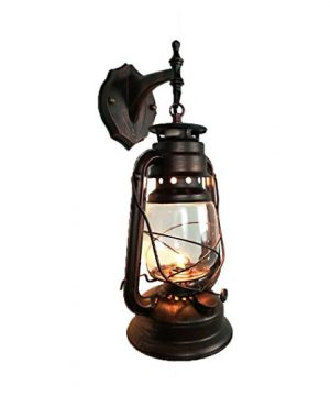 Yue Jia Rustic Lantern Wall Mounted Light Industrial Vintage Style Wall Sconce Glass Shade Lighting Fixture For Bedroom Beside Hallway Living Room Restaurant 1 Light W7 X H15 0 300x360