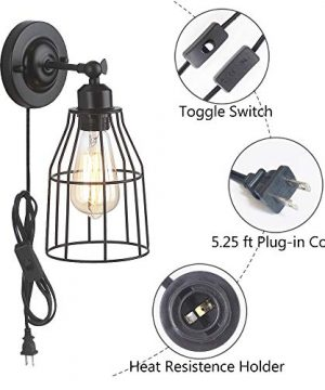 ZZ Joakoah 2 Pack Rustic Wall Sconce With Plug In Cord And Toggle Switch Black Metal Cage Industrial Wall Lamp Light Fixture For Headboard Bedroom Farmhouse Garage Porch Bathroom Vanity 0 2 300x360