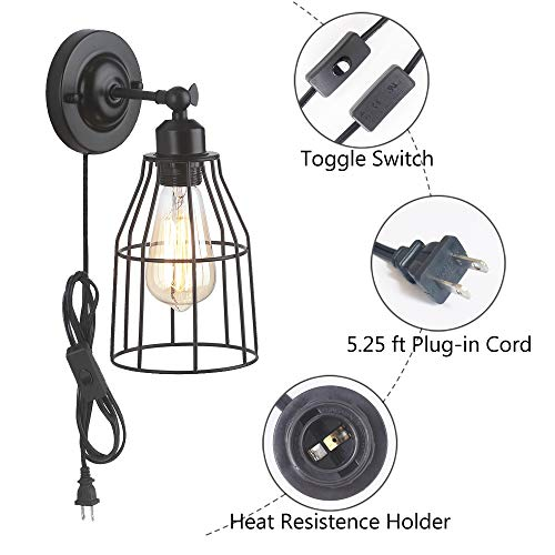 ZZ Joakoah 2 Pack Rustic Wall Sconce With Plug In Cord And Toggle Switch Black Metal Cage Industrial Wall Lamp Light Fixture For Headboard Bedroom Farmhouse Garage Porch Bathroom Vanity 0 2