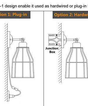 ZZ Joakoah 2 Pack Rustic Wall Sconce With Plug In Cord And Toggle Switch Black Metal Cage Industrial Wall Lamp Light Fixture For Headboard Bedroom Farmhouse Garage Porch Bathroom Vanity 0 3 300x360