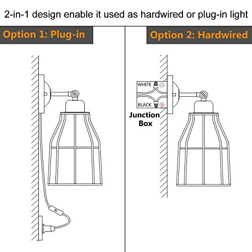 ZZ Joakoah 2 Pack Rustic Wall Sconce With Plug In Cord And Toggle Switch Black Metal Cage Industrial Wall Lamp Light Fixture For Headboard Bedroom Farmhouse Garage Porch Bathroom Vanity 0 3