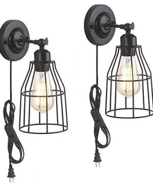 ZZ Joakoah 2 Pack Rustic Wall Sconce With Plug In Cord And Toggle Switch Black Metal Cage Industrial Wall Lamp Light Fixture For Headboard Bedroom Farmhouse Garage Porch Bathroom Vanity 0 300x360