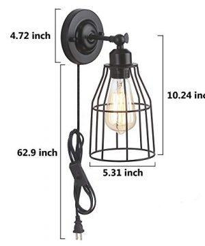 ZZ Joakoah 2 Pack Rustic Wall Sconce With Plug In Cord And Toggle Switch Black Metal Cage Industrial Wall Lamp Light Fixture For Headboard Bedroom Farmhouse Garage Porch Bathroom Vanity 0 4 300x360