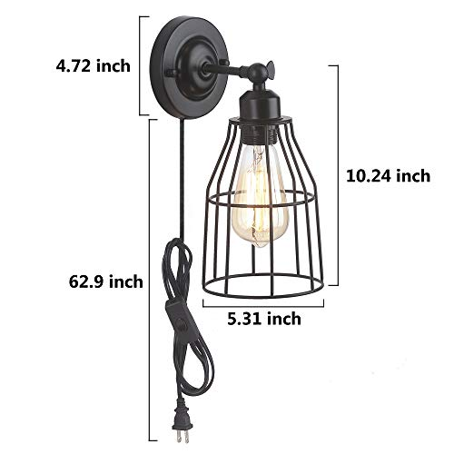 ZZ Joakoah 2 Pack Rustic Wall Sconce With Plug In Cord And Toggle Switch Black Metal Cage Industrial Wall Lamp Light Fixture For Headboard Bedroom Farmhouse Garage Porch Bathroom Vanity 0 4