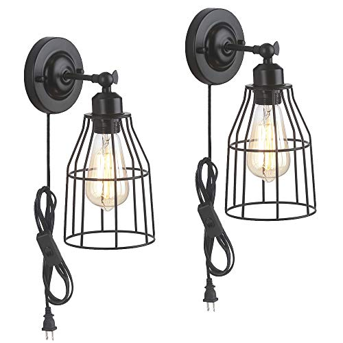 ZZ Joakoah 2 Pack Rustic Wall Sconce With Plug In Cord And Toggle Switch Black Metal Cage Industrial Wall Lamp Light Fixture For Headboard Bedroom Farmhouse Garage Porch Bathroom Vanity 0