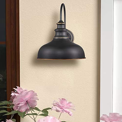 Zeyu Farmhouse Barn Light Fixture Gooseneck Wall Sconce 2 Pack In Rubbed Oil Bronze Finish 02A390 2 ROB 0 0